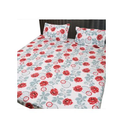 Bed sheet red flower leaf
