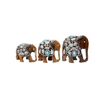 Elephant set metal carving on wood