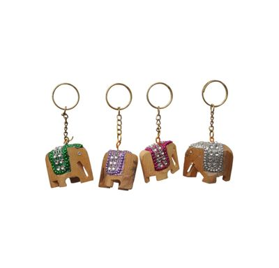Key chain elephant wooden