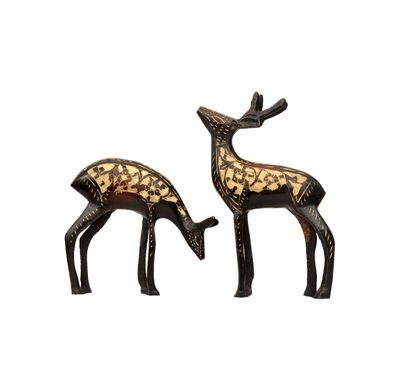 Deer set black meenakari