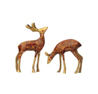 Deer set red meenakari