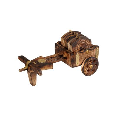 Tea coaster bullock cart wooden