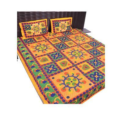 Bed sheet kantha work