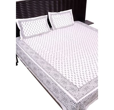 Bed sheet hand block elephant border print