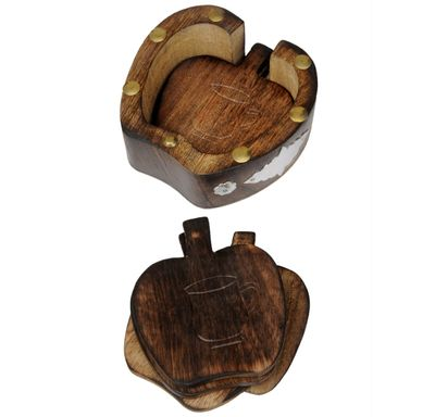 Wooden tea coaster (Apple shape)
