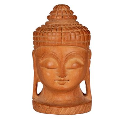 Small wooden Buddha face