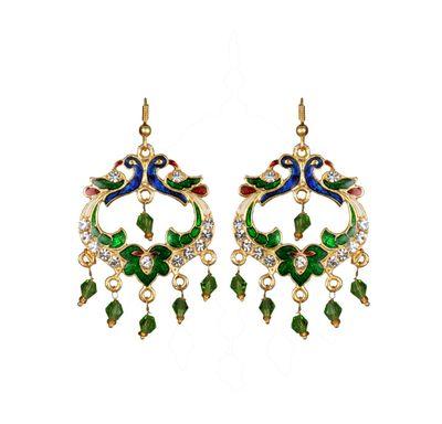Ear ring peacock shape meenakari