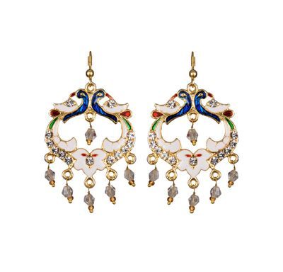 Ear ring peacock shape meenakari