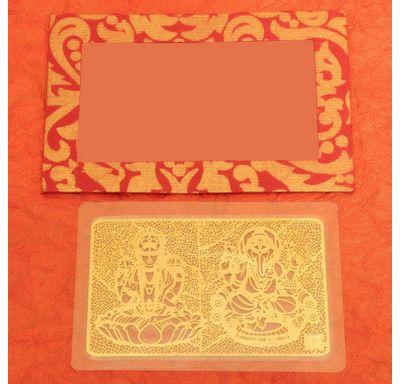 Gold plated Laminated Lakshmi Ganesha