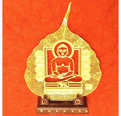 Gold plated leaf Mahaveer swami