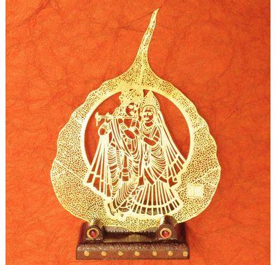 Gold plated leaf Radha Krishna