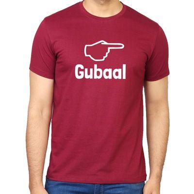 Gubaal Crimson Red Colour Round Neck Kannada T-shirt