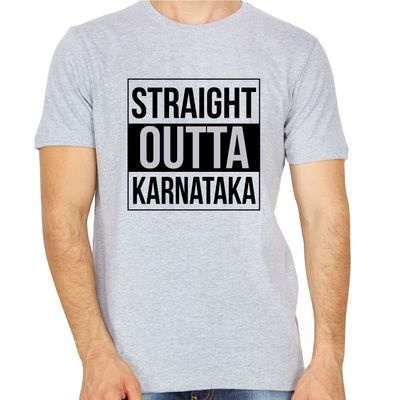 Straight Outta Karnataka Grey Colour Round Neck T-Shirt