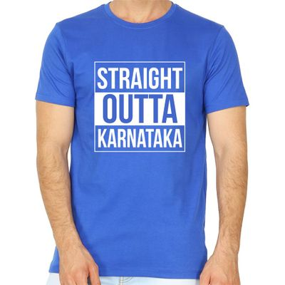 Straight Outta Karnataka Royal Blue Colour Round Neck T-Shirt