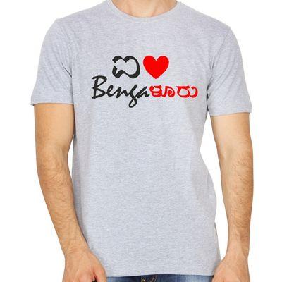 I Love Bengaluru Grey colour round neck tshirt