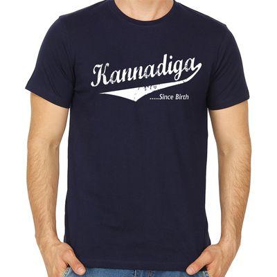 Kannadiga Since Birth Navy Blue Colour Round neck tshirt