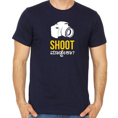 Shoot Madbeka Navy Blue Colour Round Neck Tshirt