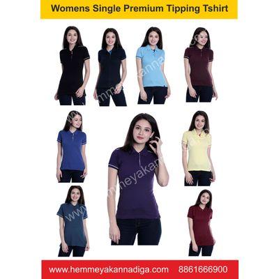 Women  Premium Single Tipping  Tshirts  -G | Customized t-shirts for rajyotsava