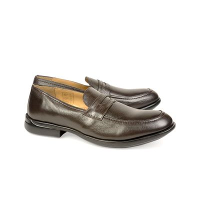 Leatherplus Brown Semi-formal Slip on Shoes for Men (12113)