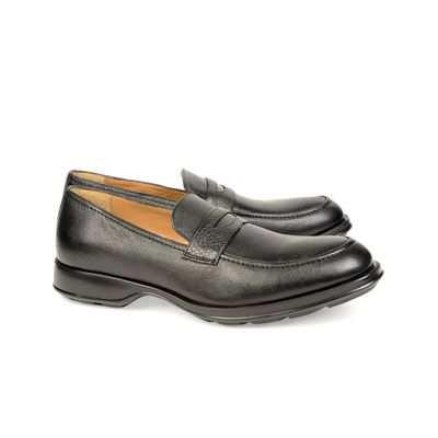 Leatherplus Black Semi-formal Slip on Shoes for Men (12113)
