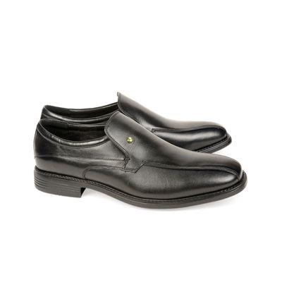 Leatherplus Black Formal Slip on Shoes for Men (12130)