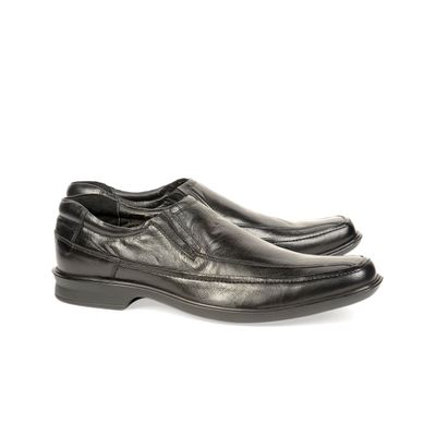 Leatherplus Black Formal Slip on Shoes for Men (12139)