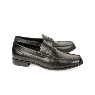 Leatherplus Black Semi-formal Slip on Shoes for Men (12141)