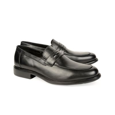 Leatherplus Black Semi-formal Slip on Shoes for Men (12166)