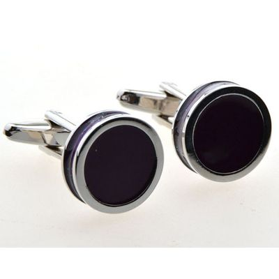 Dark Purple Color Enamel Cufflinks (153016)