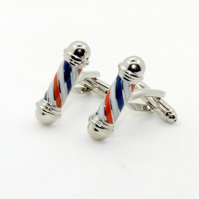 Navy White Red Color Enmal Cufflinks (153084)