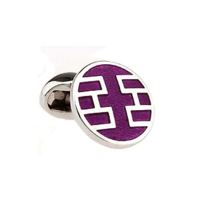 Purple Color Enamel Cufflinks (151369)
