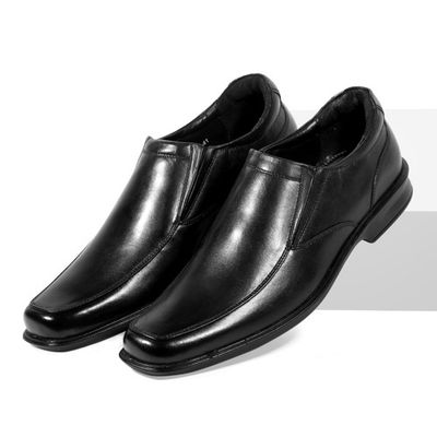 Leatherplus Black Formal Slip on Shoes for Men (12459)