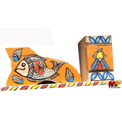 Mithila Painting Wooden Pen stand, Tea Coaster, Desk Organiser