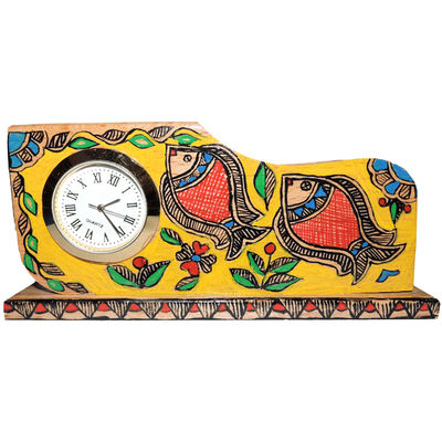 Mithila Painting Wooden Pen stand Card Holder mobile holder Desk Organiser with a clock