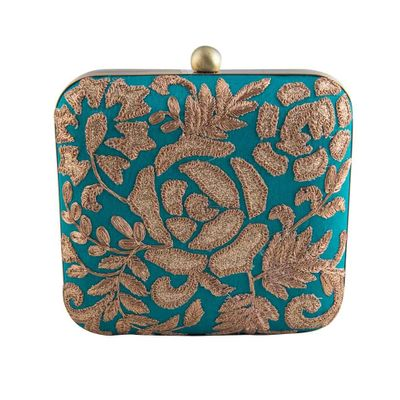 Turquoise rose clutch