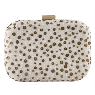 White drizzle clutch