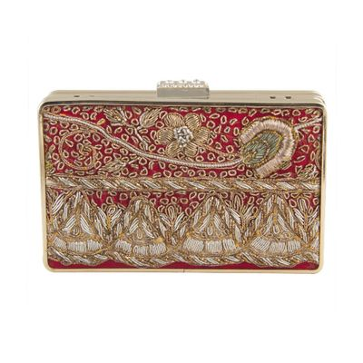 Red Gold beige antique clutch