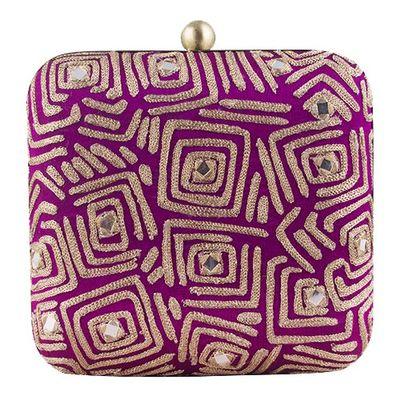 Purple geometric clutch