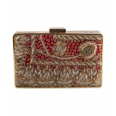 Double sided red antique clutch (floral)