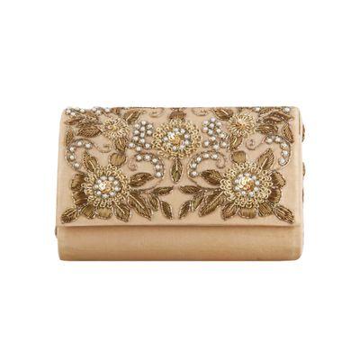 Gold jitters clutch bag