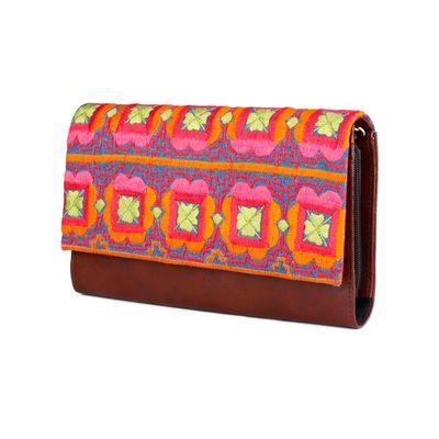 Floral geometric wallet