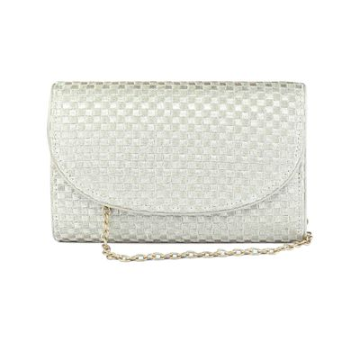 Golden check clutch bag