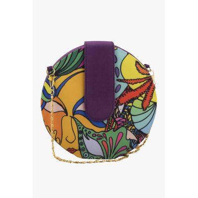 Purple Round sling clutch