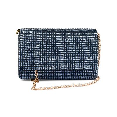 Grey sheen studded clutch