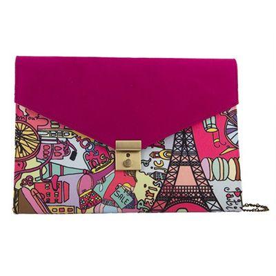 Pink Paris portfolio sling bag