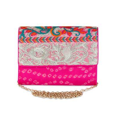 Bandhani multicolour clutch
