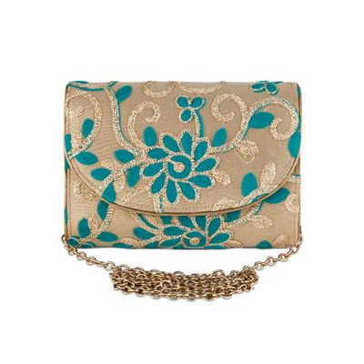 Gold Turquoise embroidered envelope