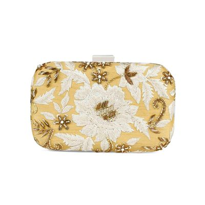Golden Flower zardosi clutch