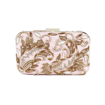 Light Pink Double Paisley clutch