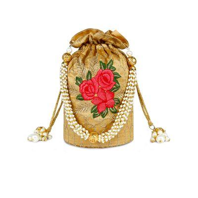Rose motif potli bag